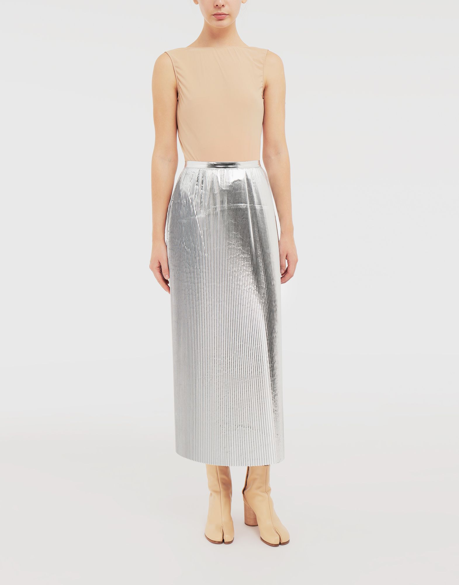 MAISON MARGIELA Silver pleated nylon skirt 3/4 length skirt Woman d