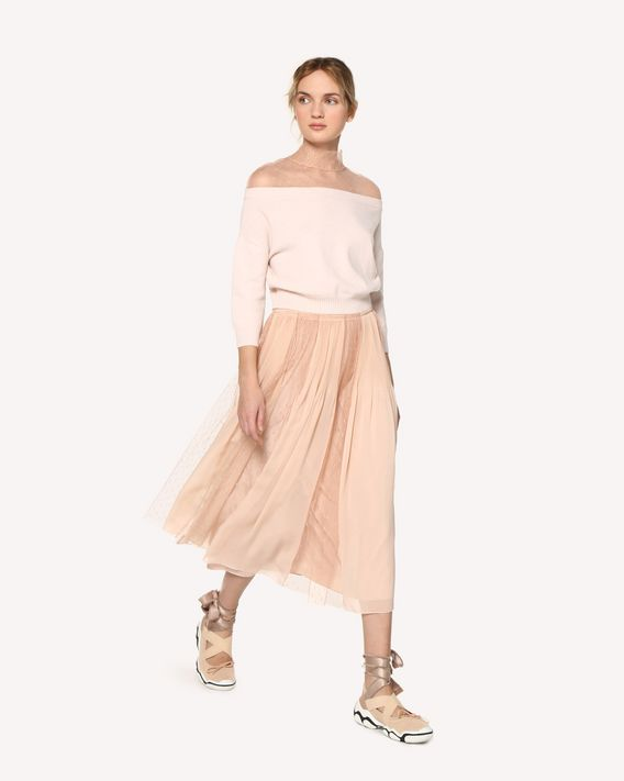 REDValentino Muslin and point d'esprit tulle pleated skirt