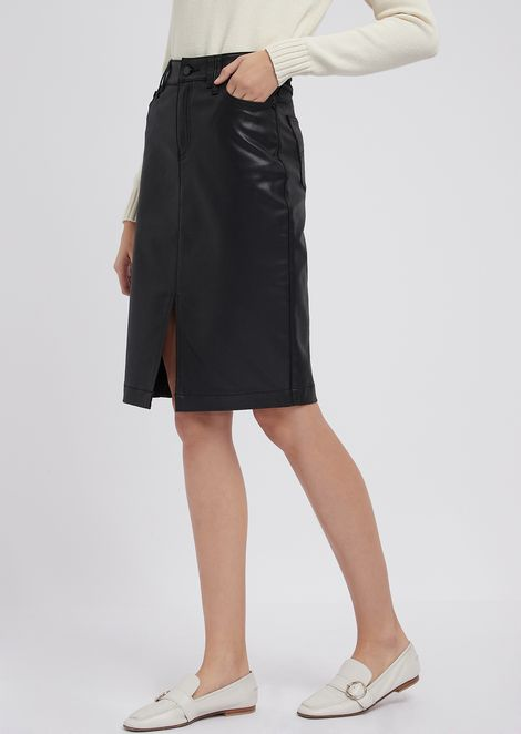 Coated gabardine pencil skirt