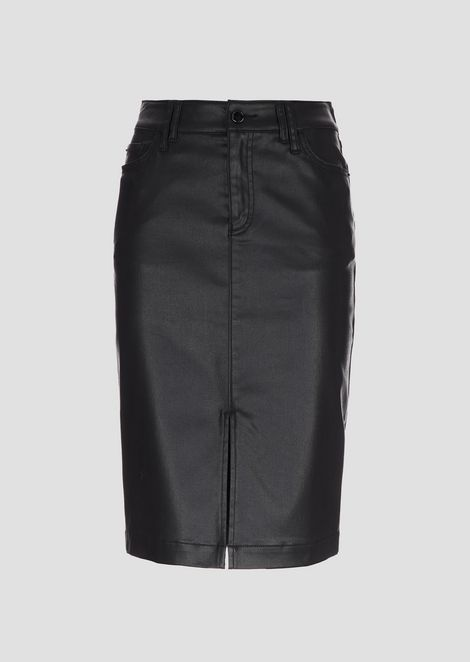 Облегающая юбка из габардина с покрытием