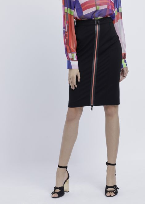 Pencil skirt with contrasting central zipper