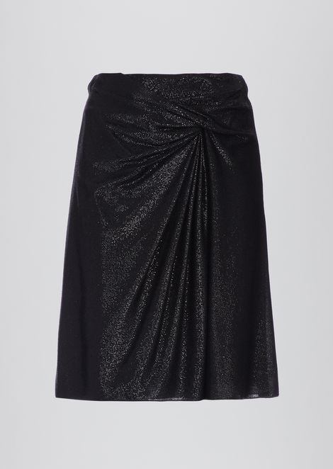 Skirt with ruffled bow in lurex yarn fabric