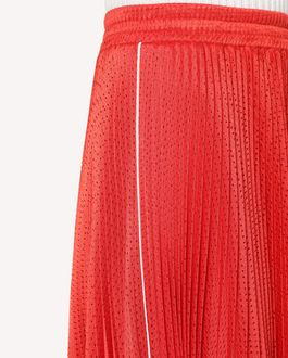 REDValentino Jersey mesh pleated skirt