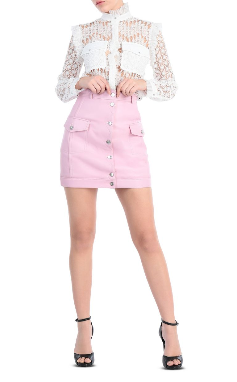 JUST CAVALLI Short skirt in pink leather Leather skirt Woman d