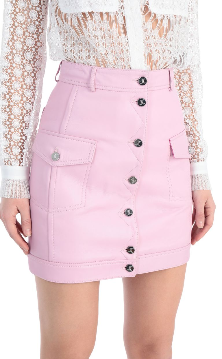 JUST CAVALLI Short skirt in pink leather Leather skirt Woman e