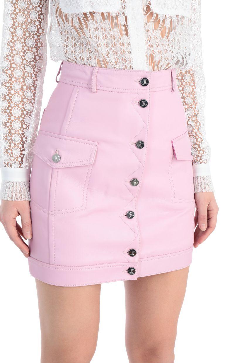 JUST CAVALLI Short skirt in pink leather Leather skirt [*** pickupInStoreShipping_info ***] e