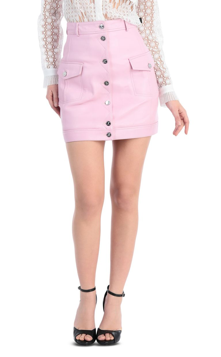 JUST CAVALLI Short skirt in pink leather Leather skirt Woman f