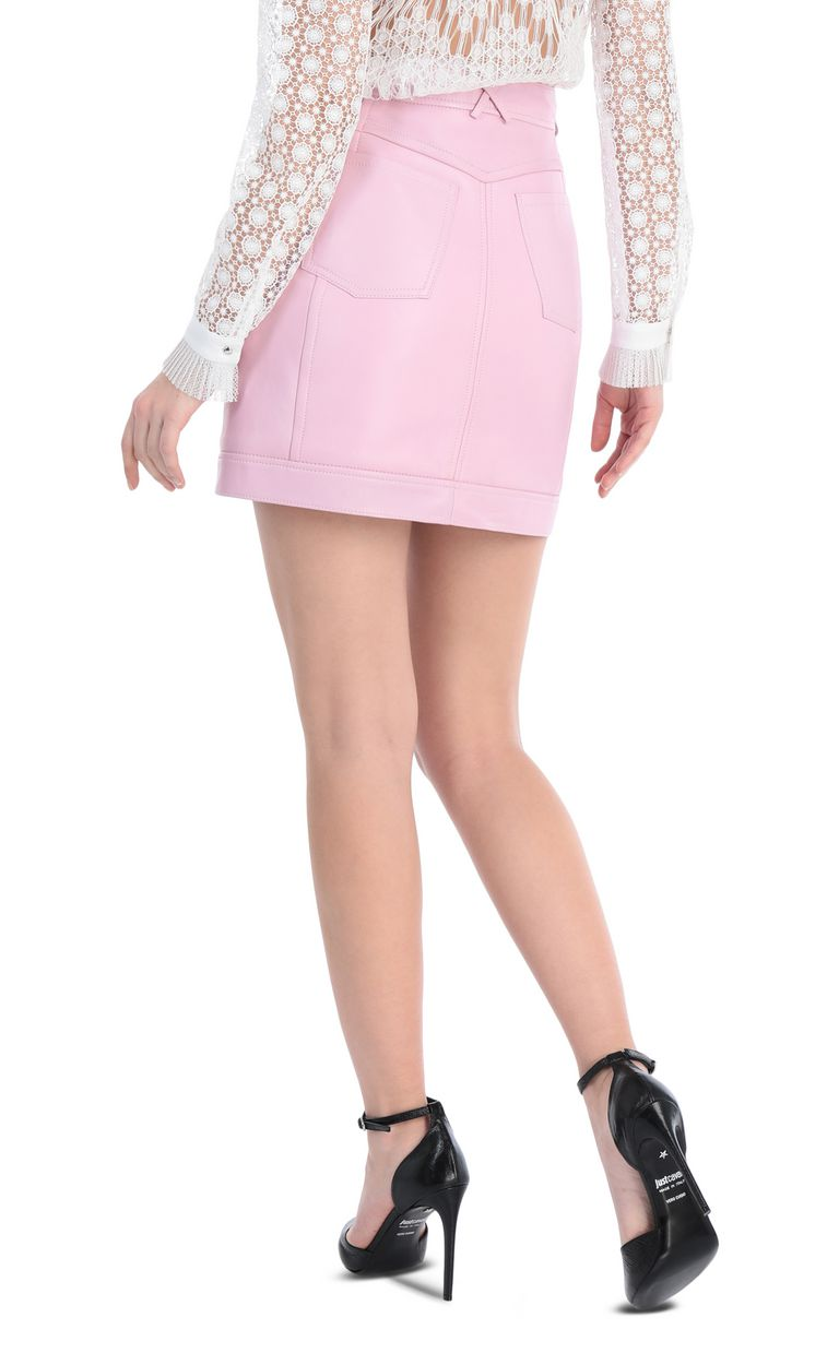 JUST CAVALLI Short skirt in pink leather Leather skirt Woman r