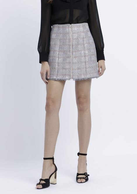 Miniskirt in lurex basketweave with fringed hem