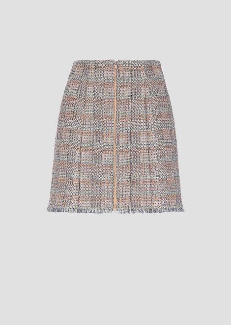 Miniskirt in lurex basketweave with fringed hem