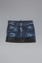 DSQUARED2 Leather Insert Denim Skirt Denim skirt Woman