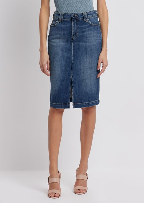 Worn-effect denim pencil skirt