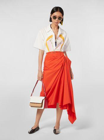 Marni Draped skirt in cotton poplin Woman