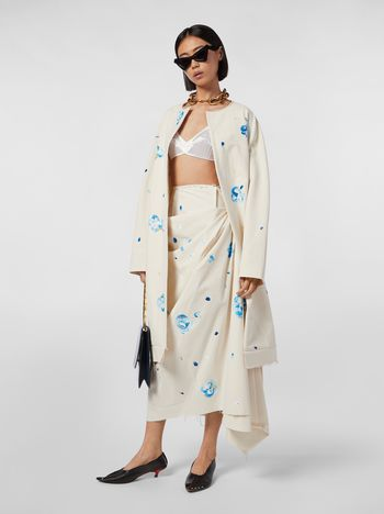 Marni Draped skirt in stretch cotton with Iride print Woman