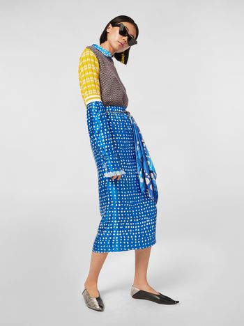 Marni Blue tulip skirt in rayon satin with Cerere print Woman