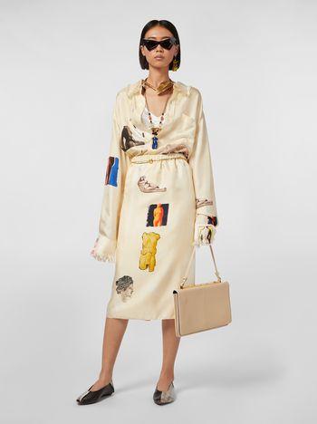 Marni Tulip skirt in silk twill with Opi print Woman