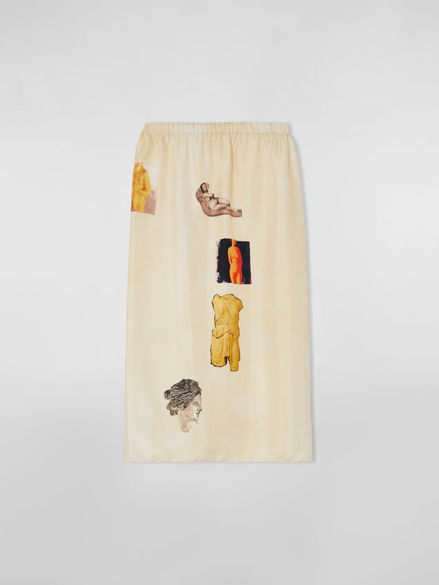 Marni Tulip skirt in silk twill with Opi print Woman - 2