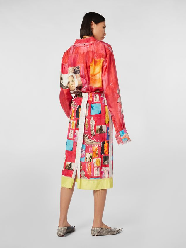 Marni Tulip skirt with slit in viscose cloth with Venere print  Woman