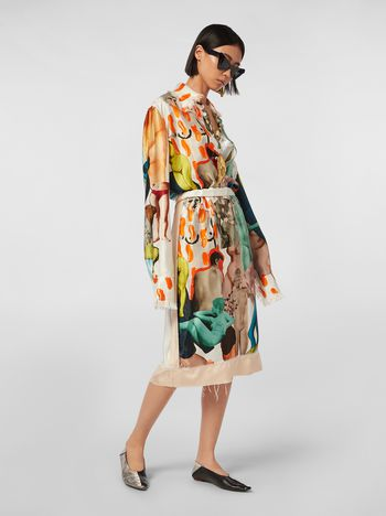 Marni Tulip skirt with slit in rayon satin with Afrodite print  Woman