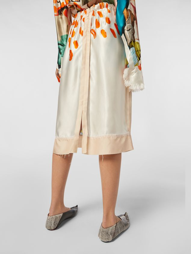 Marni Tulip skirt with slit in rayon satin with Afrodite print  Woman - 5