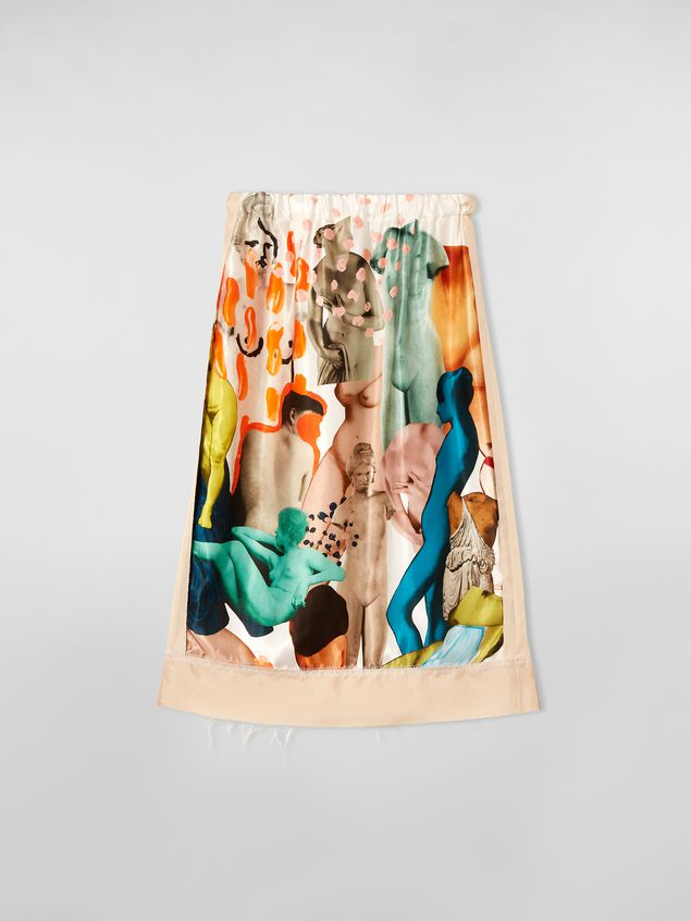 Marni Tulip skirt with slit in rayon satin with Afrodite print  Woman - 2