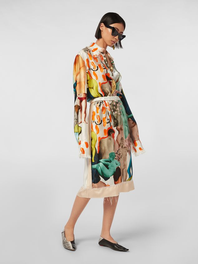 Marni Tulip skirt with slit in rayon satin with Afrodite print  Woman - 1