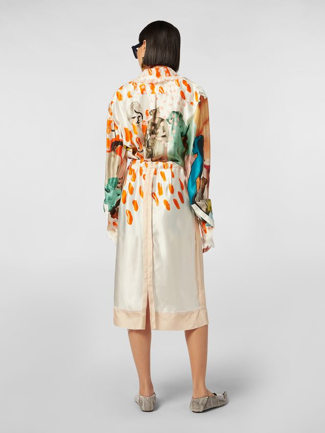 Marni Tulip skirt with slit in rayon satin with Afrodite print  Woman - 3