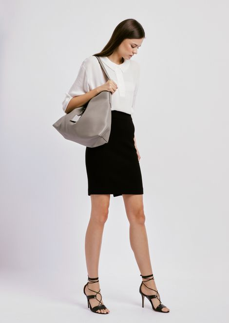 Wool crepe pencil skirt