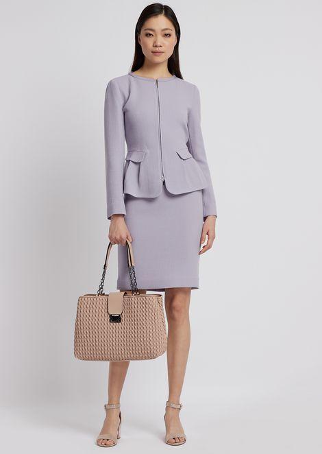 Wool crepe pencil skirt