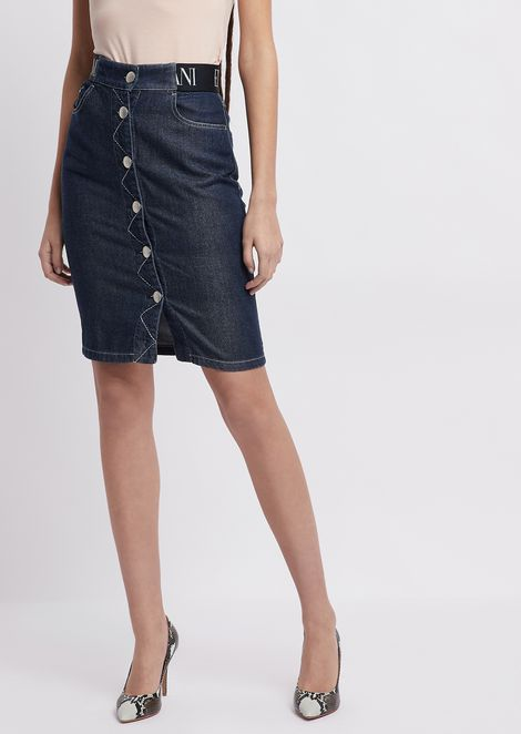 Denim pencil skirt with logo waist band