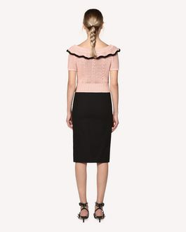 REDValentino Stretch micro canvas pencil skirt