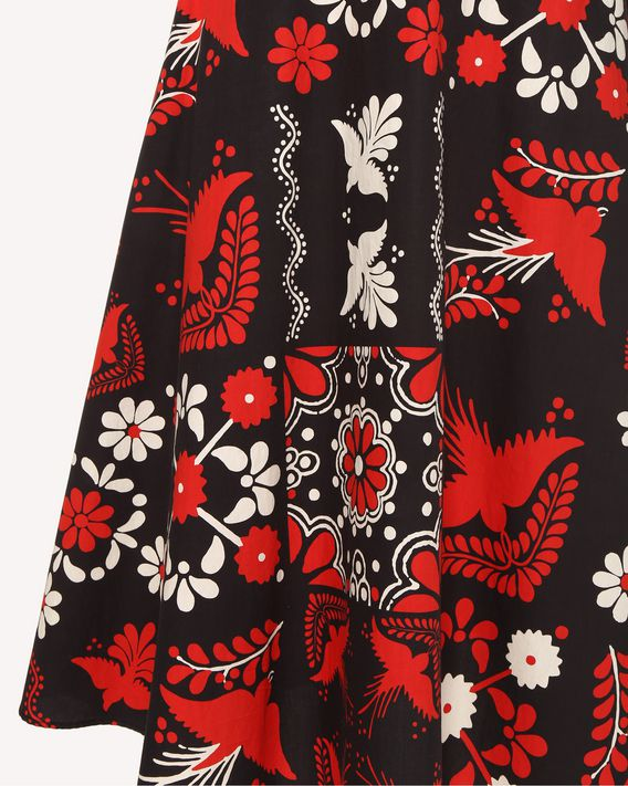 REDValentino Decorated Terrace printed cotton poplin skirt