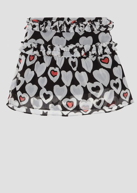 Crêpe skirt with all-over heart pattern and ruches