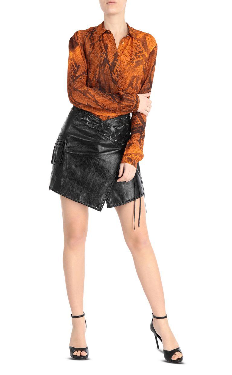 JUST CAVALLI Leather wrap-style miniskirt Leather skirt Woman d