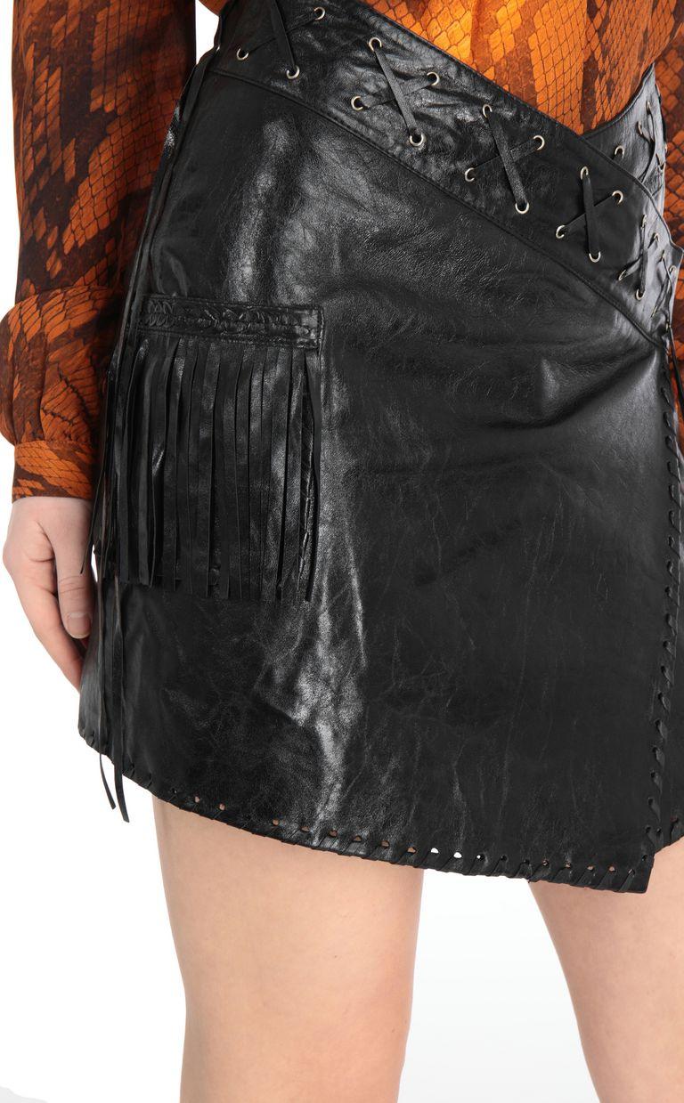 JUST CAVALLI Leather wrap-style miniskirt Leather skirt Woman e