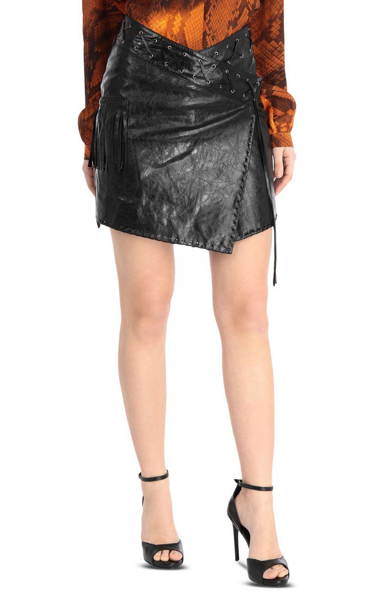 JUST CAVALLI Leather wrap-style miniskirt Leather skirt Woman f