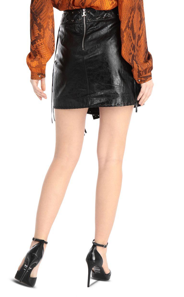 JUST CAVALLI Leather wrap-style miniskirt Leather skirt Woman r