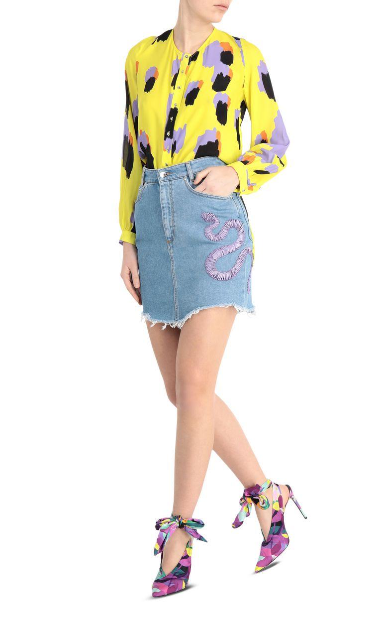 JUST CAVALLI Denim snake-detail miniskirt Denim skirt [*** pickupInStoreShipping_info ***] d