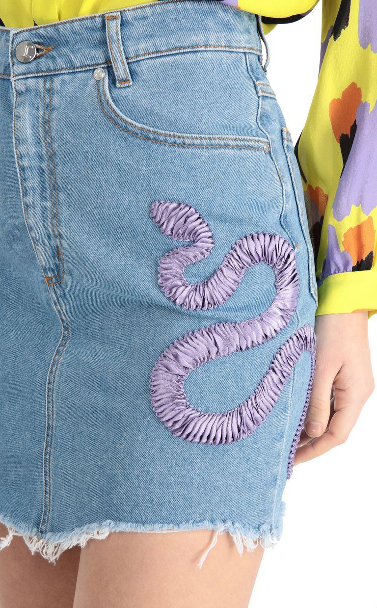 JUST CAVALLI Denim snake-detail miniskirt Denim skirt [*** pickupInStoreShipping_info ***] e