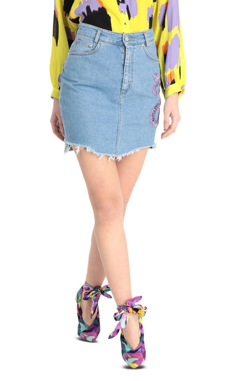 JUST CAVALLI Denim snake-detail miniskirt Denim skirt [*** pickupInStoreShipping_info ***] f
