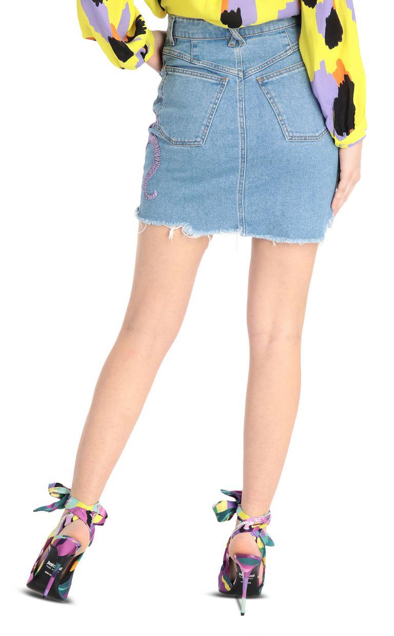 JUST CAVALLI Denim snake-detail miniskirt Denim skirt [*** pickupInStoreShipping_info ***] r