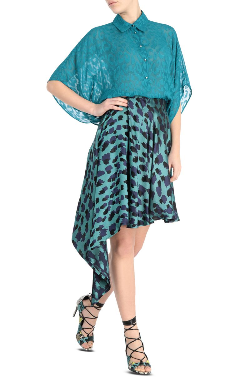 JUST CAVALLI Asymmetrical leopard-print skirt Mini skirt [*** pickupInStoreShipping_info ***] d