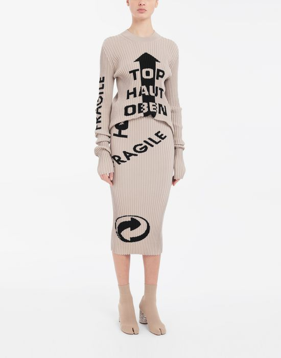 MAISON MARGIELA Knit ribs skirt in 'Carton' intarsia 3/4 length skirt [*** pickupInStoreShipping_info ***] d