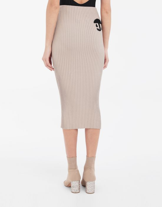 MAISON MARGIELA Knit ribs skirt in 'Carton' intarsia 3/4 length skirt [*** pickupInStoreShipping_info ***] e