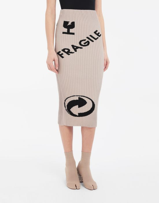 MAISON MARGIELA Knit ribs skirt in 'Carton' intarsia 3/4 length skirt [*** pickupInStoreShipping_info ***] r