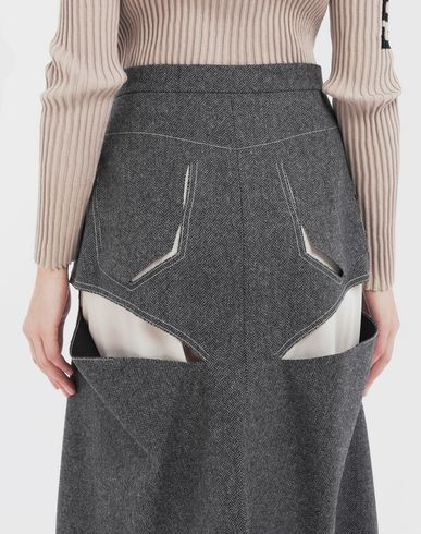 SKIRTS Décortiqué midi wool skirt