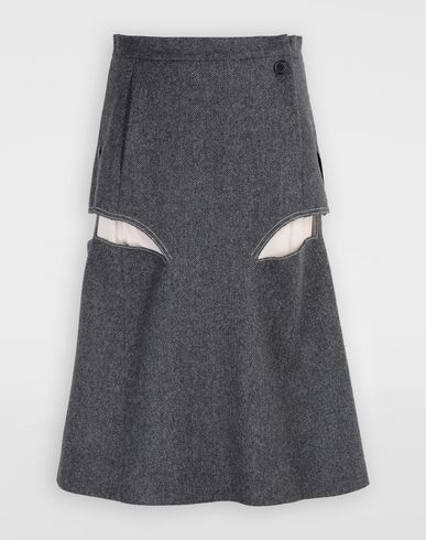 MAISON MARGIELA 3/4 length skirt [*** pickupInStoreShipping_info ***] Décortiqué midi wool skirt f