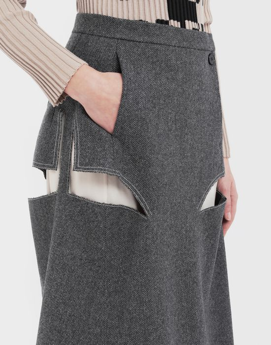MAISON MARGIELA Décortiqué midi wool skirt 3/4 length skirt [*** pickupInStoreShipping_info ***] a