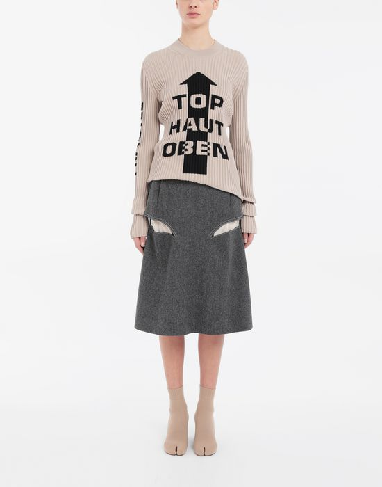 MAISON MARGIELA Décortiqué midi wool skirt 3/4 length skirt [*** pickupInStoreShipping_info ***] d