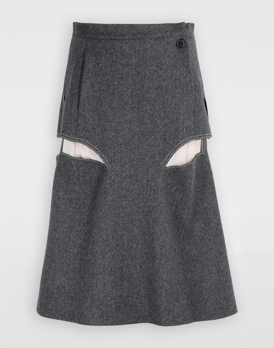 MAISON MARGIELA Décortiqué midi wool skirt 3/4 length skirt [*** pickupInStoreShipping_info ***] f
